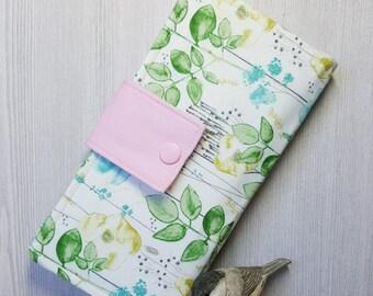 Watercolor wild garden Womens wallet, Bifold fabric wallet, Handmade clutch wallet, card wallet, checkbook wallet, womans gift idea