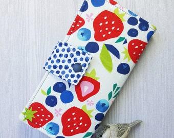 Wild Strawberries Women's wallet, Bifold fabric wallet, slim clutch wallet, handmade wallet, checkbook wallet, card wallet, gift idea