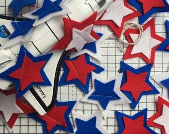 Star Garland. Red, White and Blue