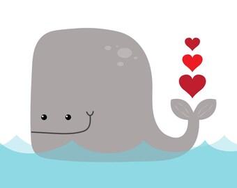 Nursery Art: Whale Print