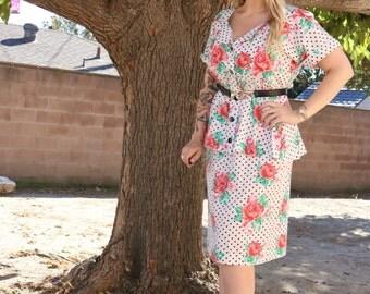 Vintage floral polka dot day dress