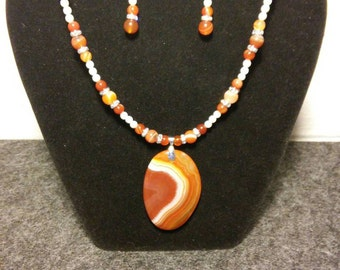 Orange Agate Necklace and Earrings set