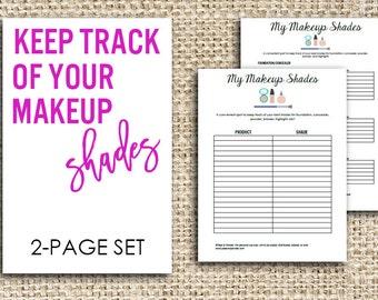 Printable Makeup Product Worksheet Set