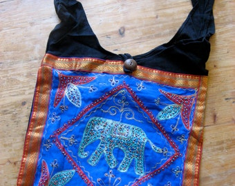 Beaded Cotton Shoulder Bag