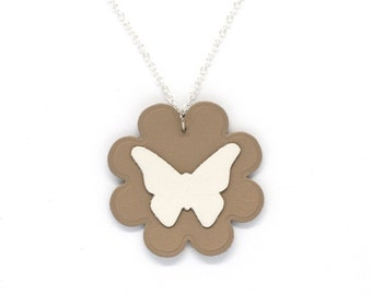 """Necklace leather Butterfly """"virevolteuse"""" white and beige hand made"""