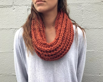 Hand Knitted Light Infinity Scarf, comes in multiple colors, extremely soft, and warm.