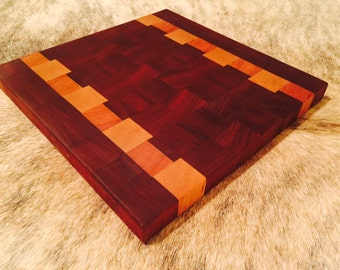 End Grain Cutting Board made of Mahogany and Cherry