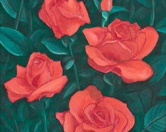 Roses for You, Giclee Archival Print of an Oil Painting by Rick Fry. Free Shipping.