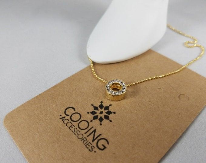 14Kgp Necklace with CZ round pendant