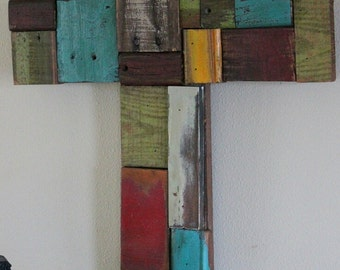 Wood collage cross