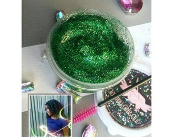 KIWI-LIMEY Diva Glitter Gel - Green Hair Chalk Pomade Glitter Gel Temporary Color Body Glitter Highlights Jewelry Accessories Bling Sparkle