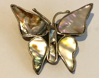 Small Mother of Pearl Butterfly Brooch