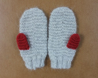 Handmade SOFT Wool Mittens, Gray Llama Wool from Pennsylvania, Adult Gloves Mittens, Made in USA