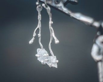 Sterling silver branch earrings- contemporary jewelry