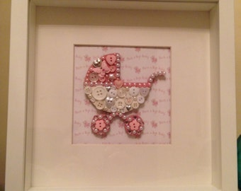 New Baby Framed Baby Pram with Buttons and Embellishments - Can be personalised