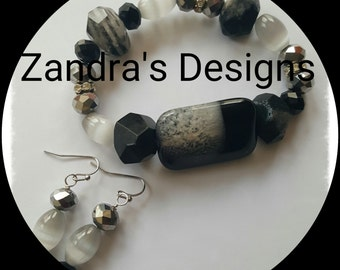 Rutilated Quartz bracelet & earring set