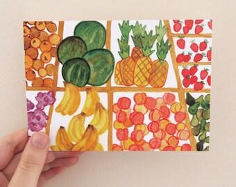 Fruit Market Postcard