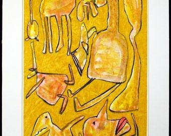 Vogeljagd, 1986. Tempera by Frieder HEINZE