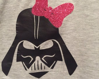 Darth Vader with glittery bow t shirt