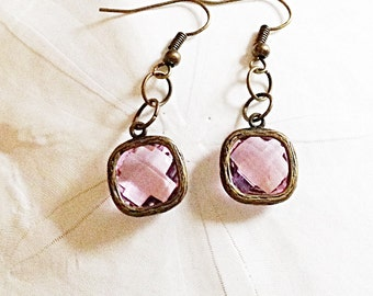 Rosy Pink Faceted Glass Gem Earrings