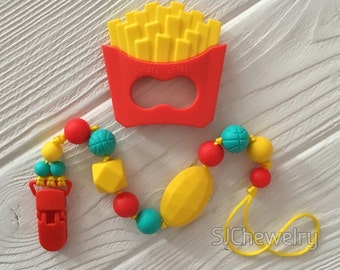 Silicone French Fries Teether with a pacifier clip