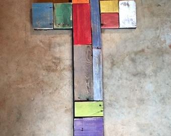 multi colored wooden cross