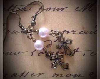 Glass pearl and antique brass cross earrings faith pretty dainty vintage style religious