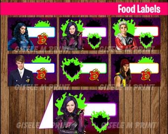 Descendants Food Labels, Printable Descendants food tent cards, Descendants party food cards instant download