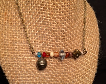 """Bead and Bronze Bar Necklace 18"""" chain"""