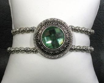 Round Green Rhinestone Medallion Bracelet - Vintage Inspired