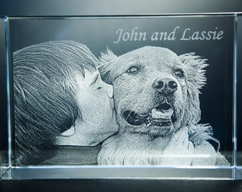 Photo Engraved Glass Paperweight (Rectangle)