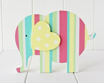 Sweet Hand Painted Wooden Pastel Elephant