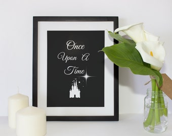 Once Upon a Time Black background Printable Wall Art