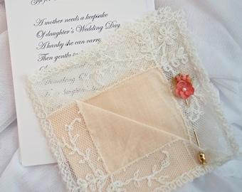 Vintage Fine Heirloom Batiste Hanky,  Vintage Stick Pin and Mother Poem Card and Envelope, Weddings, Vintage, Vintage Weddings,