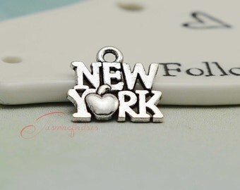 30PCS--15x14mm ,New York Charms,Antique Silver Tone City Charms pendant, jewelry making, jewelry findings