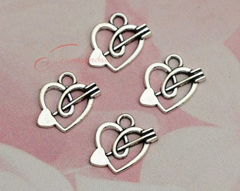 30PCS--16x18mm ,Arrow heart Charm ,Antique Tibetan silver Cupid's arrow charms pendants , DIY Findings, Jewelry Making