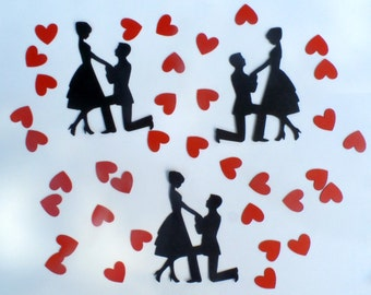 Engaged Couple Confetti - (230 pieces) Engagement Party, Wedding, Hearts, Love, Proposal Scrapbook