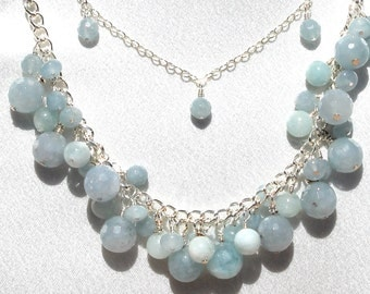 Blue Jade Necklace and Earring Set