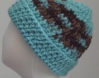 Ocean blue hat with brown variegated stripe M (T3-T4)