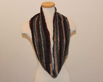 Crochet Infinity Scarf, Multi-color Scarf, Long Infinity Scarf, Soft Brown, Tan, Teal Scarf, Multi-color Creativity Scarf