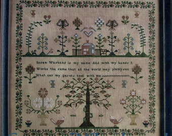 Susan Wasband Reproduction Sampler by Scarlett House Counted Cross Stitch Pattern/Chart