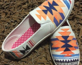 Geometric hand dyed woman's slip on shoes