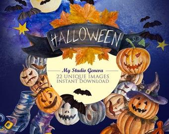 Halloween clipart Halloween watercolor clipart, Pumpkin clipart Digital Handpainted Clipart Party Halloween Scrapbook Digital Halloween, DIY