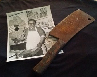 vintage Meat Cleaver And Photo With Cleaver