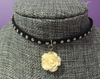 Studded gray/black choker with optional flower charm
