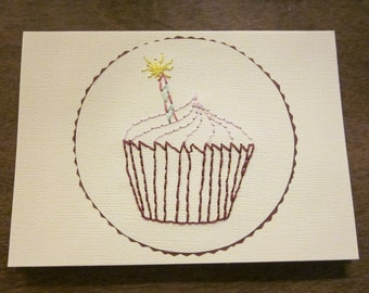 Hand Embroidery Cupcake Greeting Card