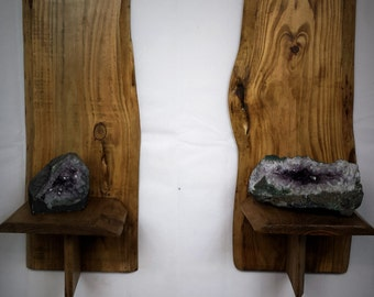 wooden wall shelf - wood shelves - Live Edge shelves - sconce - wall shelf - candle holder - live edge - Rustic wall sconce - candle