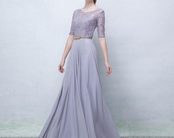 Gray Lace  Evening Long Dress