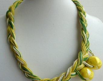 Linen Jewerly Linen Necklace - Lemon Colors Yellow Beads