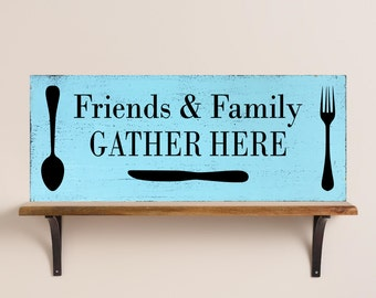 Friends & Family GATHER HERE Vintage Rustic Painted Wood Sign ~ VINT1230-001